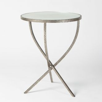 Hammered Tripod Table-Nickel-Lg
