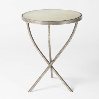 Hammered Tripod Table-Nickel-Sm