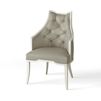 Logan Arm Chair-Antique White-Chesterfield Grey Leather