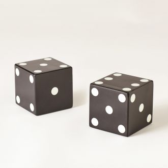 Pair of Dice-Black w/White Dots