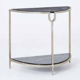 Demilune Side Table-Silver