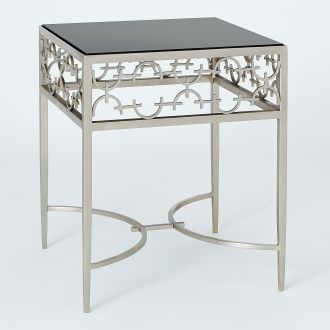 C-Fret Side Table-Silver