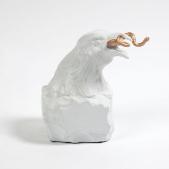 Raven with Worm-Matte White
