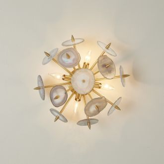 Agate Burst Sconce-Satin Brass