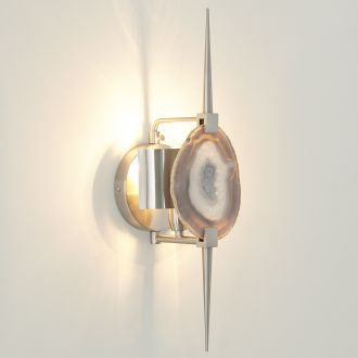 Eclipse Agate Sconce-Satin Nickel