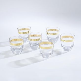 S/6 Avenue Low Ball Tumblers-Gold