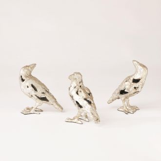 S/3 Deconstructed Birds-Silver Leaf