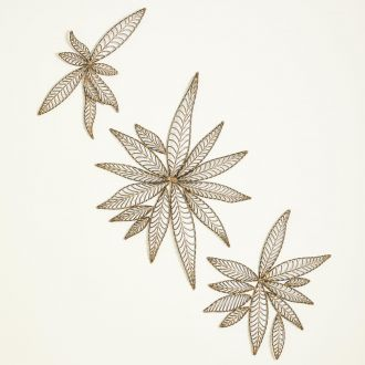 S/3 Leaf Wall Decor-Natural Iron