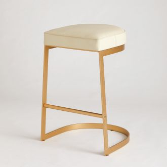 Geo Bar Stool-Milk Leather
