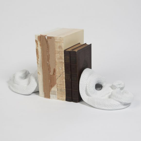 Snake Bookends-Matte White